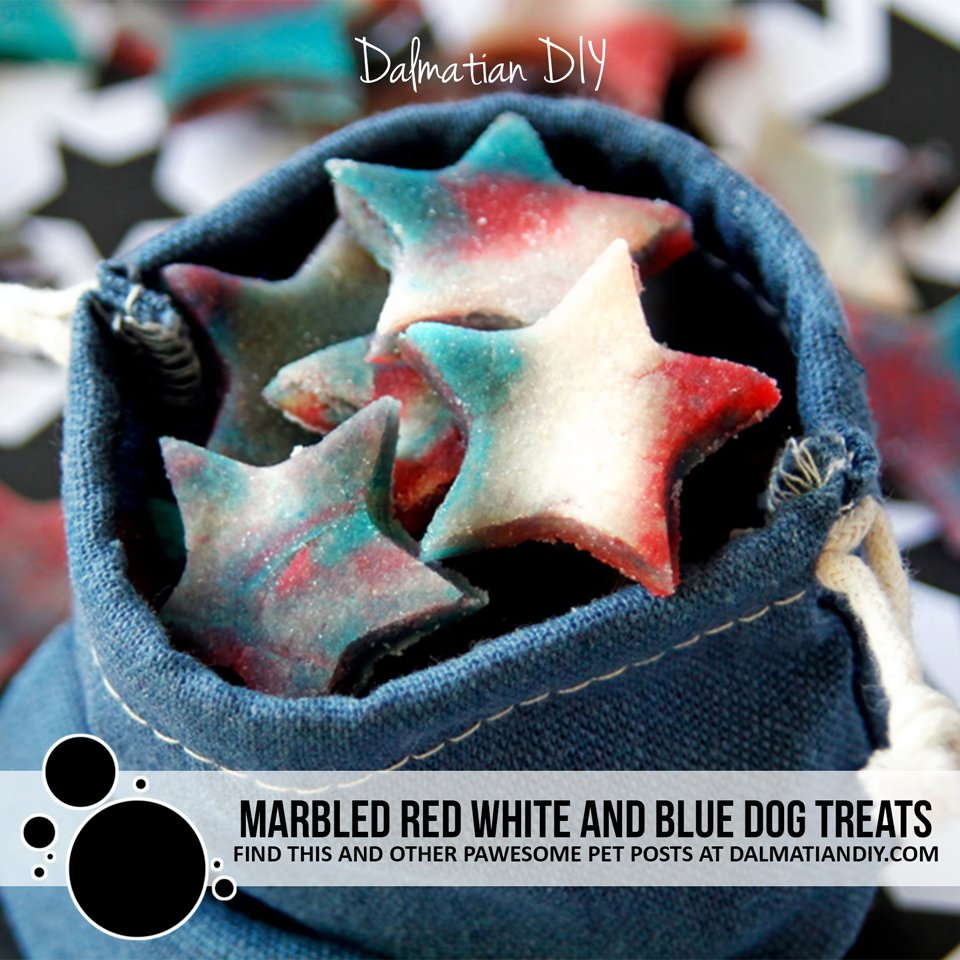 Marbled red white and blue star shaped homemade dog treats