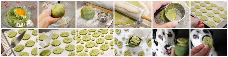 Making naturally green leaf shaped dog treats