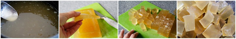 Making set and slice gelatin gummies for dogs without a mould