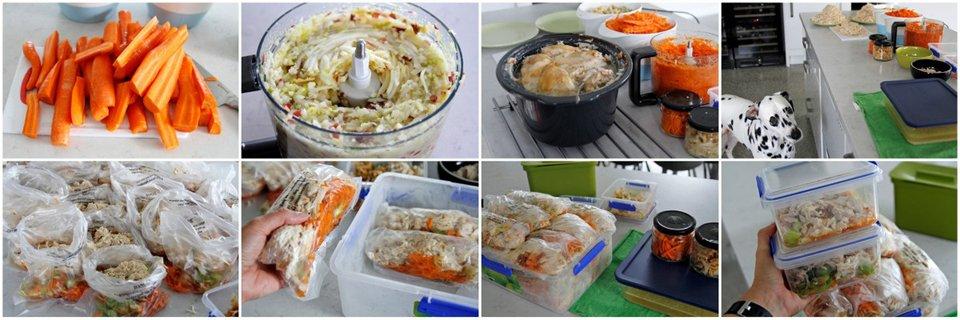 Breparing homemade dog food in bulk for freezer