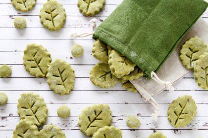 Homemade naturally green leaf dog treats