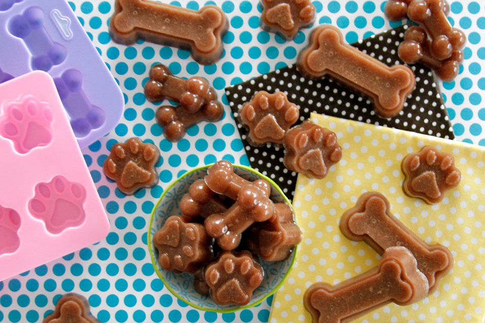 Homemade beef stock and gelatin gummy dog treats