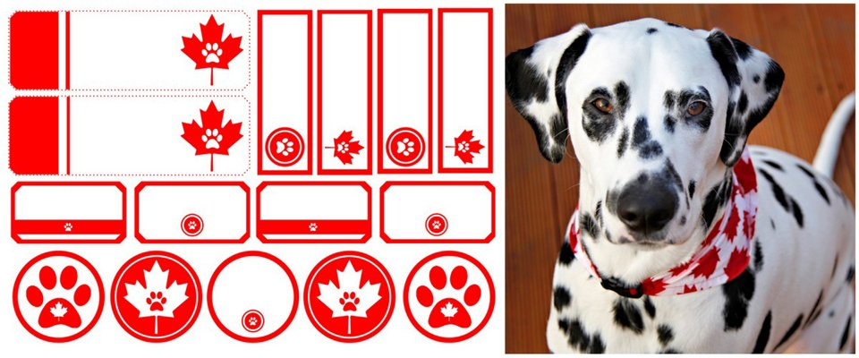 Free Canadian maple leaf and paw print dog treat and gift tags and labels