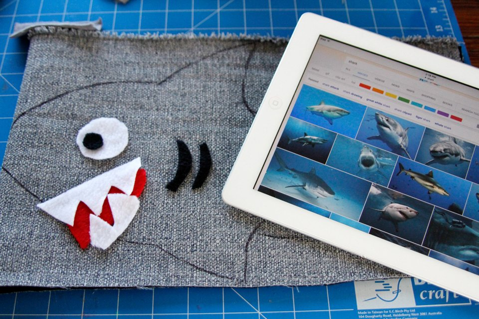 Creating a stuffed shark dog toy