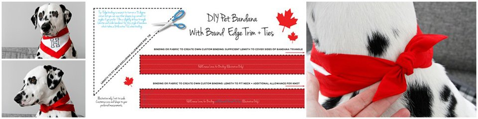 Diagram and pictures for making a dog bandana with binding edges and trim ties