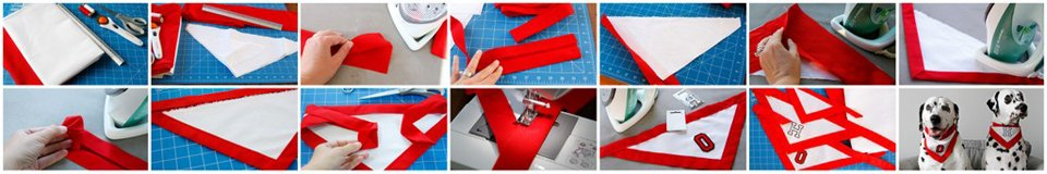 DIY monogrammed dog bandanas with contrasting binding edge trim and neck ties