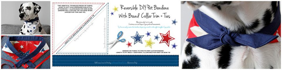 DIY reversible red white and blue stars dog bandana
