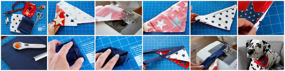 Sewing a DIY reversible dog bandana with binding trim neck ties