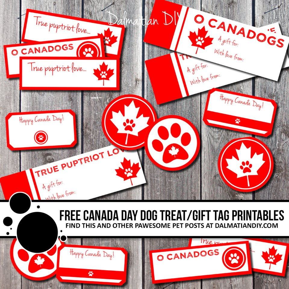 Free printable Canada Day dog treat and gift tags and labels