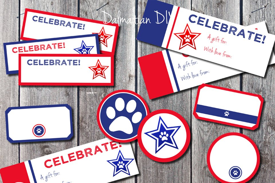 Free printable red white and blue dog treat tags and labels