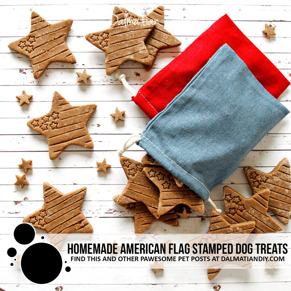 Homemade stamped American flag Fourth of July dog treats
