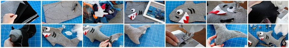 Making a DIY shark dog toy with stuffing and squeakers