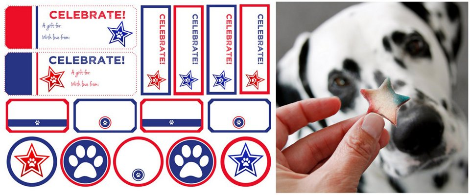 Free printable red and blue celebrate dog treat tags and labels