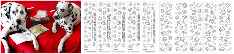 Free Colour-and-Count Dog Paw Print Bookmarks - Dalmatian DIY