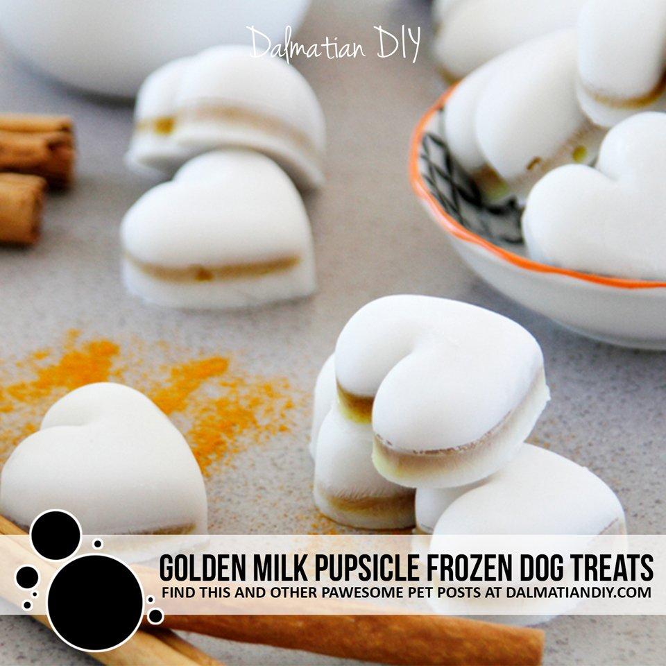 Layered golden milk pupsicle dog treats
