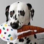 DIY squeaky stuffed ice cream cone dog toy