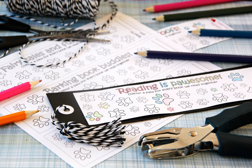 Free Colour-and-Count Dog Paw Print Bookmarks