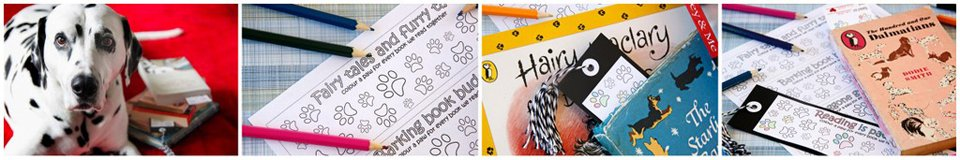 Free printable paw print bookmarks for colouring as books are read