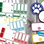 Free birthstone rainbow printable paw print dog treat tags and labels