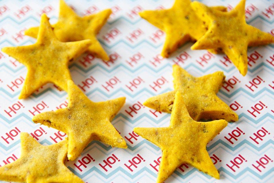 Homemade Christmas star dog treats with turmeric