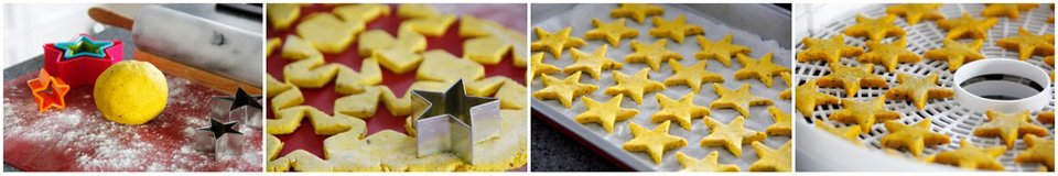 Making turmeric star baked biscuit dog treats