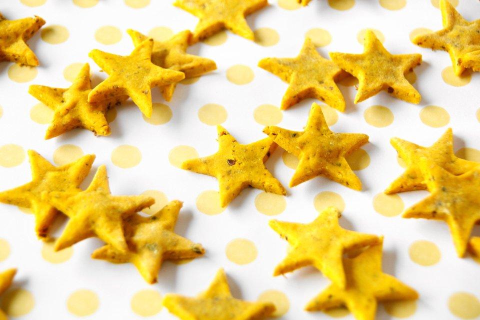Homemade turmeric star dog treats