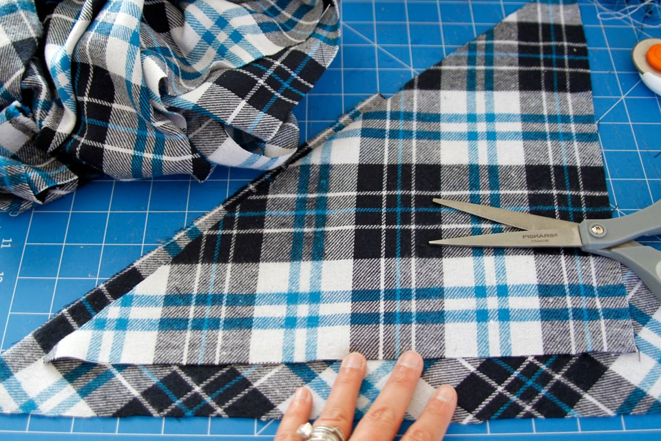 DIY Fringed Flannel Dog Bandana with Accent Trim Neck Ties