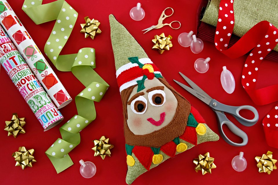 DIY squeaky stuffed Christmas elf dog toy