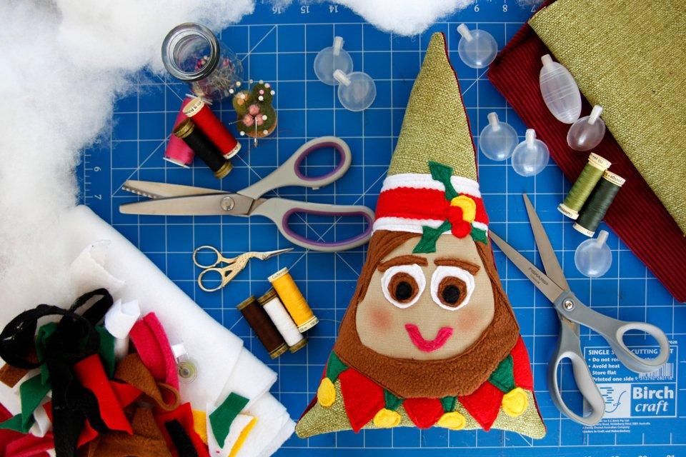 DIY Christmas elf dog toy with stuffing and squeakers