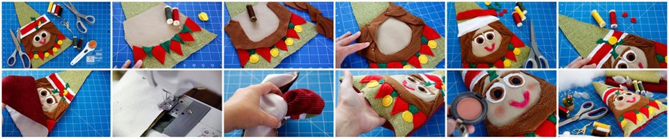 Making a DIY Christmas elf dog toy with stuffing and squeakers