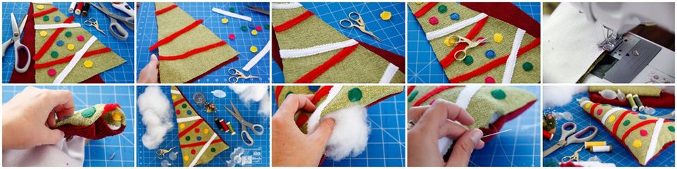 Making a DIY Christmas tree dog toy with stuffing and squeakers