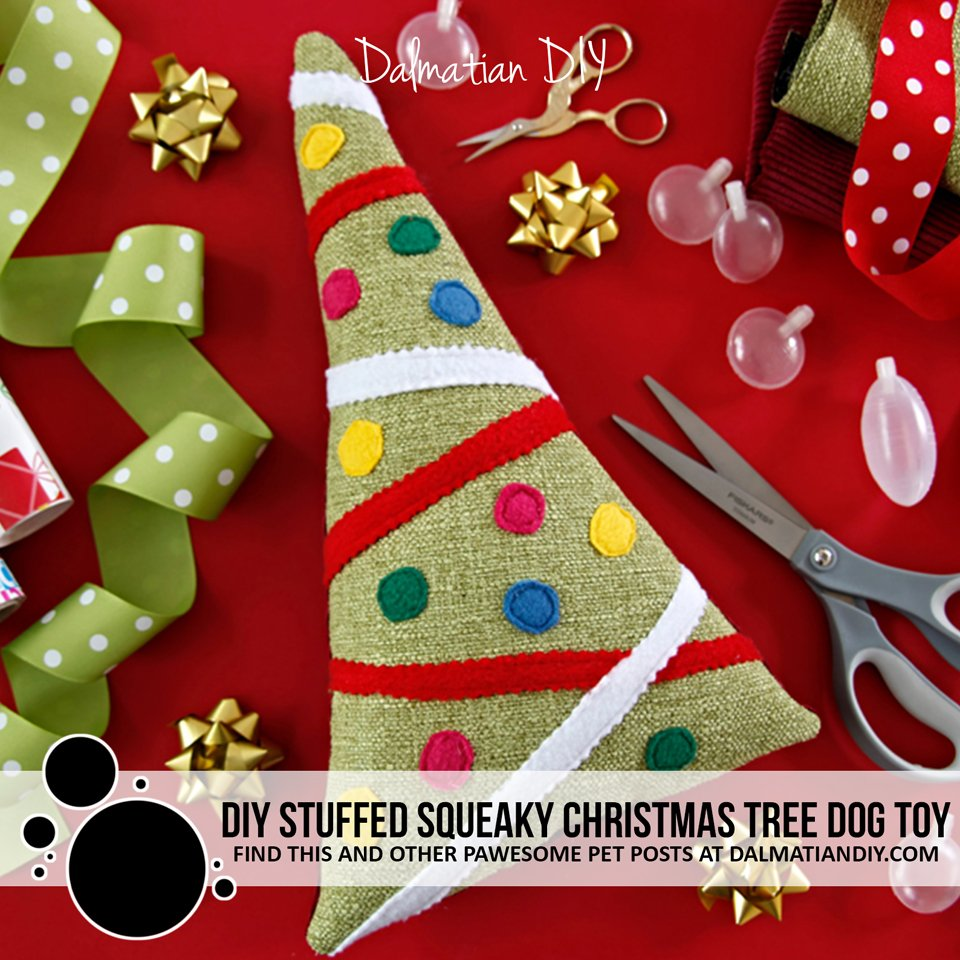DIY stuffed squeaky Christmas tree dog toy