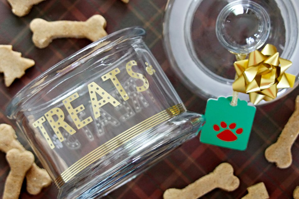 Easy embellished DIY dog treat jar