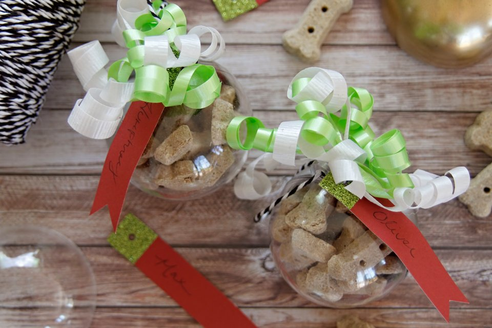 Dog treat filled Christmas ornaments