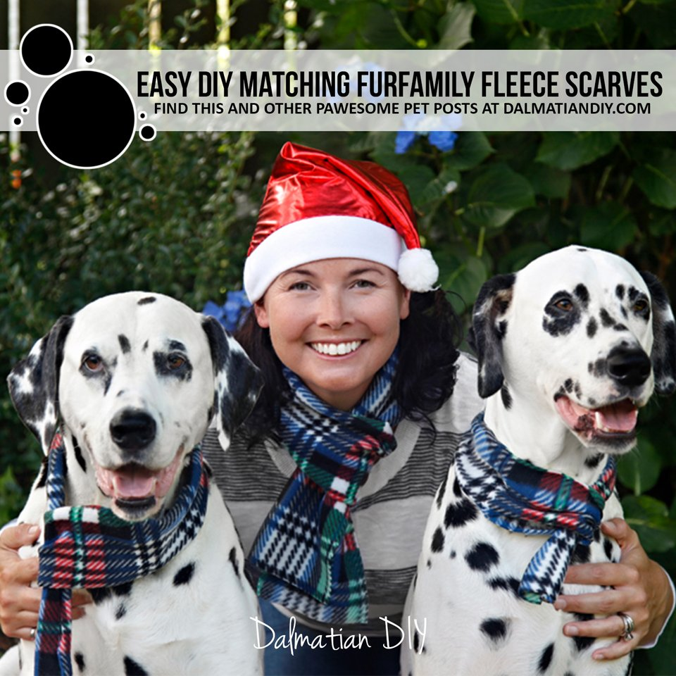 Easy DIY matching fleece scarves for people or pets