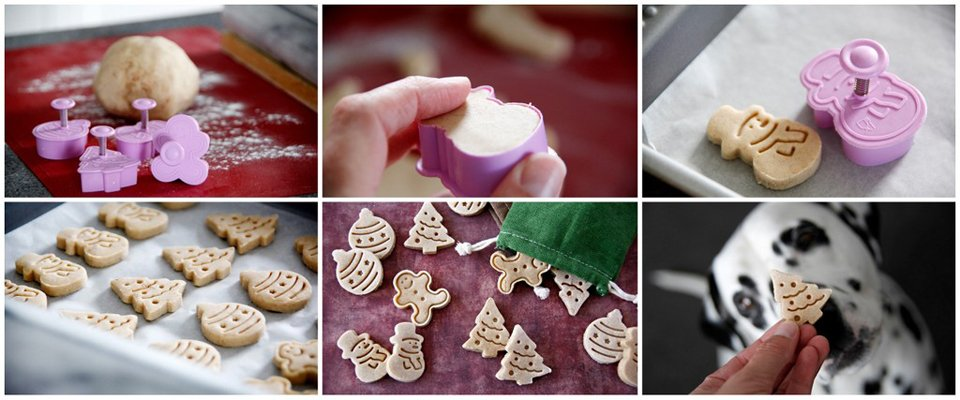 Making apple cinnamon Christmas plunger cookie cutter dog treats