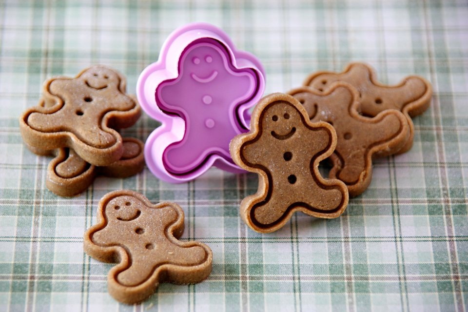 Homemade gingerbread dog treats with plunger cookie cutter