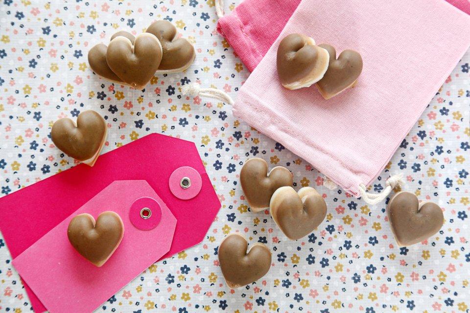 Valentine's Day heart dog treat recipe with coconut oil carob cinnamon and peanut butter