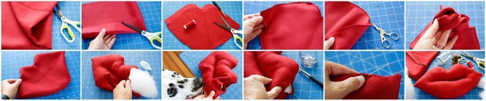 Making a DIY giant lips Valentine's Day stuffed dog toy with squeakers
