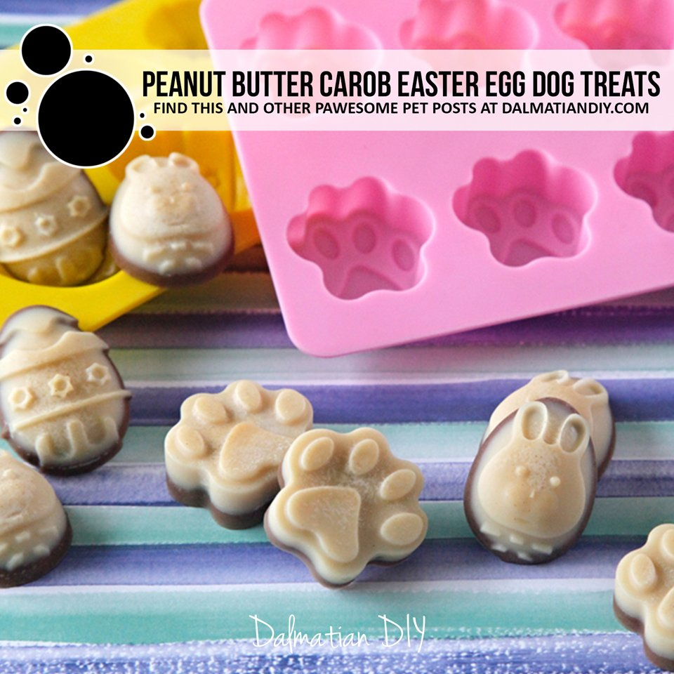 Layered peanut butter and carob coconut oil Easter egg dog treat recipe