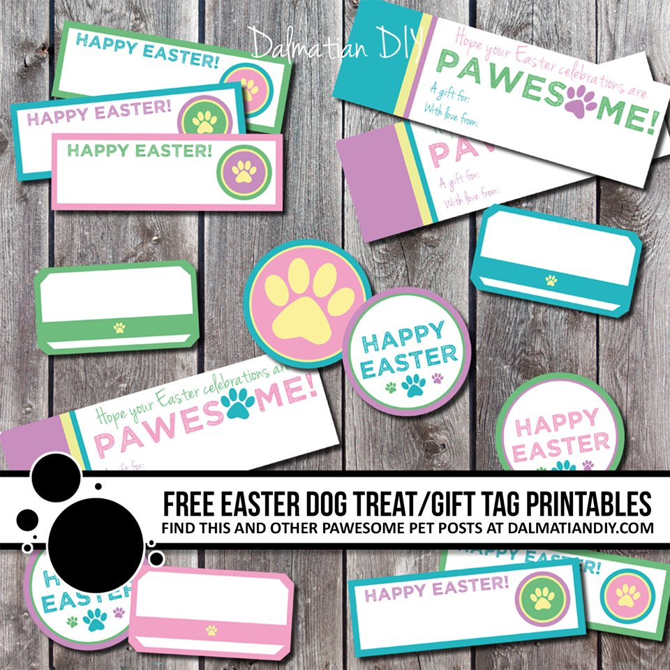 Free printable Easter dog treat or gift tags and labels