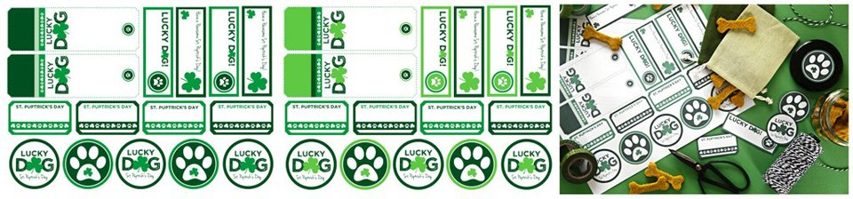 Free mix-and-match printable St. Patrick's Day dog treat tags and labels