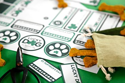 "Free printable St. Patrick's Day ""Lucky Dog"" treat tags and labels"