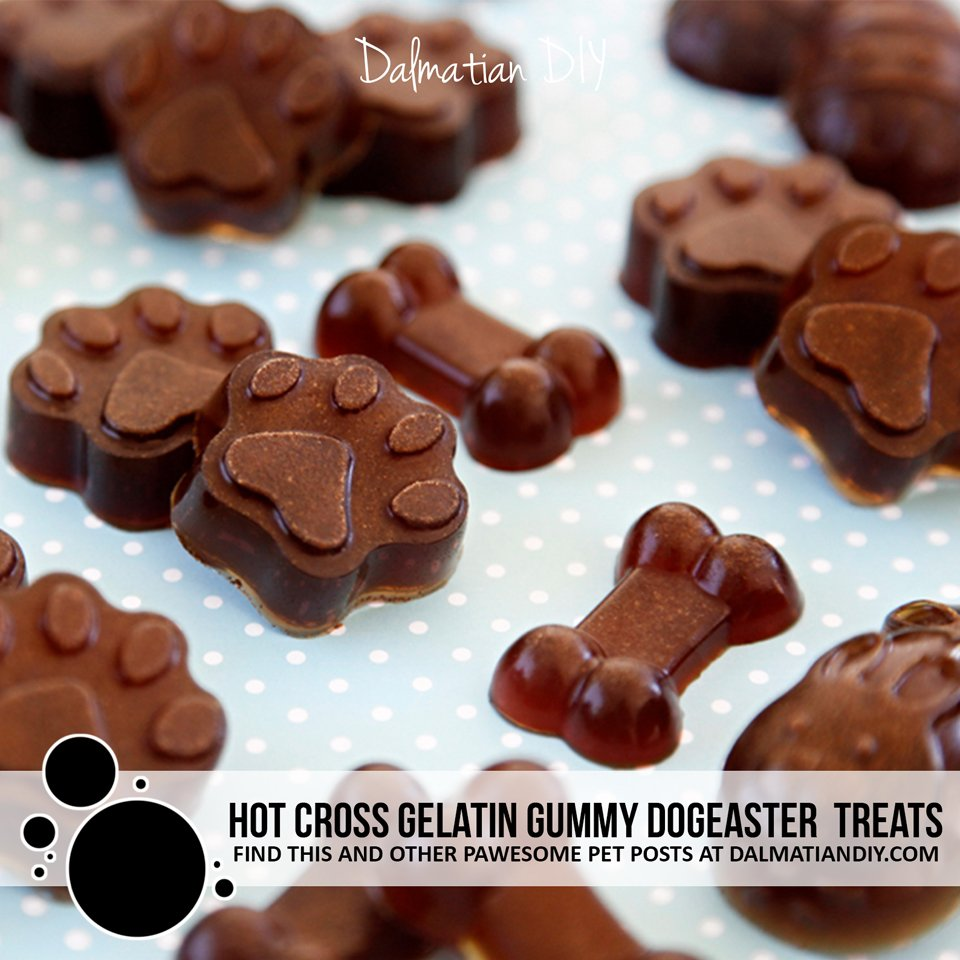 Hot cross bun inspired Easter gelatin gummy dog treat recipe