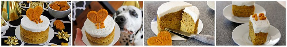Homemade decorated pumpkin and peanut butter dog birthday cake with coconut yogurt icing