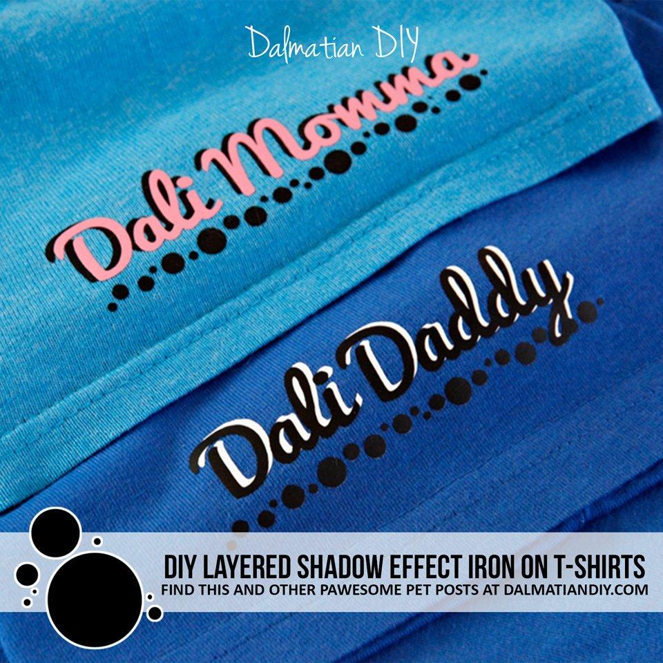 DIY layered shadow effect heart transfer vinyl pet parent t-shirts