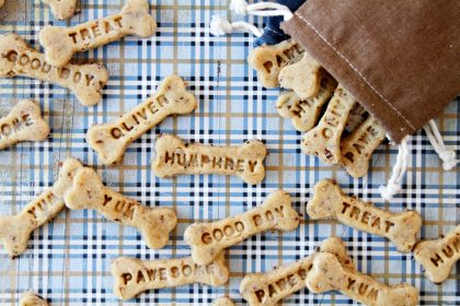 How to make DIY custom stamped dog treats plus peanut butter bacon treat recipe