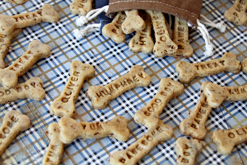 Homemade custom stamped peanut butter bacon dog treats