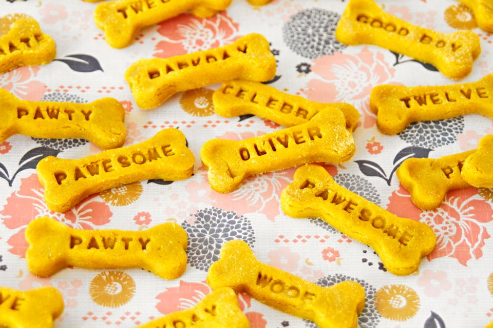 Homemade custom stamped peanut butter turmeric dog treats