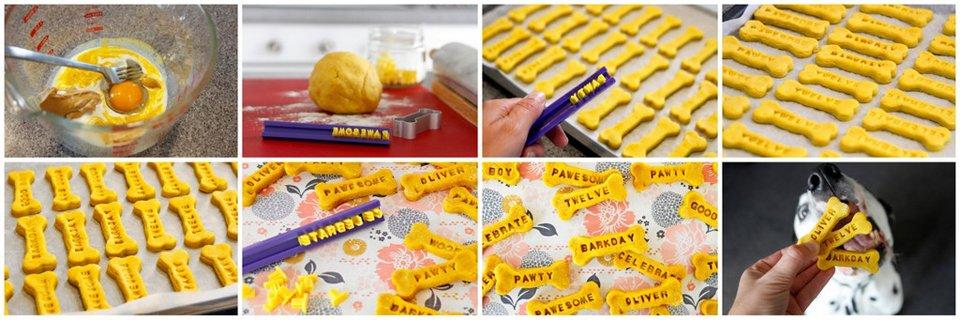 Making peanut butter turmeric stamped dog birthday treats